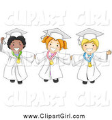Clip Art of Happy Diverse Graduate Kids Holding Hands and Wearing Medals by BNP Design Studio