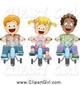 Clip Art of Happy Diverse Kids Riding Bikes with Training Wheels by BNP Design Studio