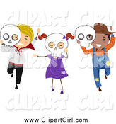Clip Art of Happy Halloween Kids with Skull Masks by BNP Design Studio