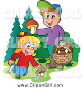 Clip Art of Happy Kids Picking Mushrooms by Visekart