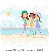 Clip Art of Happy Relaxed Stick Girls Talking on a Beach by BNP Design Studio