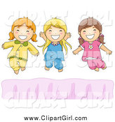 Clip Art of Happy White Girls Jumping on a Bed by BNP Design Studio