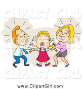 Clip Art of Parents Fighting over Custody of Their Crying Daughter by BNP Design Studio