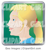 Clip Art of People Internet Instant Messenger Avatar of a Blond Woman with Her Hair in a Pony Tail by AtStockIllustration