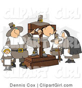 Clip Art of Pilgrims Watching a Criminal by Djart