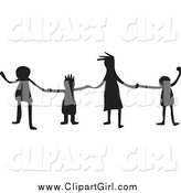 Clip Art of Silhouetted Kids Holding Hands by Prawny