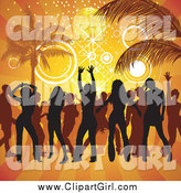 Clip Art of Silhouetted People Dancing on a Beach by Dero