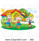 Clip Art of Smiling Children Tossing a Ball and Riding a Scooter Outside on a Sunny Day by Alex Bannykh