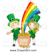 Clip Art of St Patricks Day Leprechaun Kids with Gold at the End of the Rainbow by BNP Design Studio