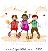 December 9th, 2013: Clip Art of Stick Children Walking in Autumn by BNP Design Studio