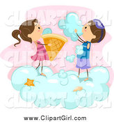 Clip Art of Stick Kids Making Ice Cream Cones from Clouds by BNP Design Studio