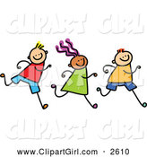 Clip Art of Three Doodled Kids Running by Prawny
