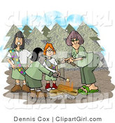 Clip Art of Three Girl Scouts and Their Troop Leader Standing Beside a Campfire in the Forest by Djart