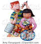 Clip Art of Two 3d Kids Eating Sushi for Lunch by Amy Vangsgard