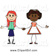 Clip Art of Two Diverse Girls Holding Hands by Pams Clipart
