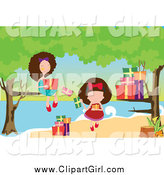 Clip Art of Two Girls Opening Presents at a Beach by Mayawizard101