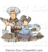 Clip Art of Two Gold Miners Panning for Gold by Djart