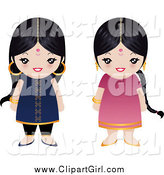 Clip Art of Two Little Indian Girls by Melisende Vector