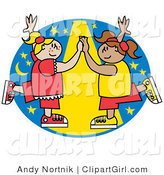 Clip Art of Two Smiling Girls Dancing Together Under a Spotlight by Andy Nortnik