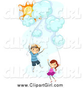 Clip Art of White Stick Kids Floating with Cloud Kites by BNP Design Studio