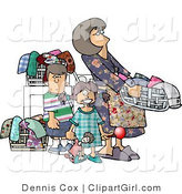 Royalty Free Clip Art of a Housewife Doing Laundry with Her Kids by Djart