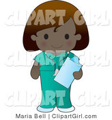 Vector Clip Art of a Cute Dark Nurse - Royalty Free by Maria Bell