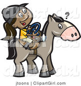 Vector Clip Art of a Happy Girl Trying to Steer a Horse - Royalty Free by Jtoons