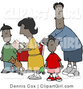 Vector Clip Art of an African American Family Shopping Together at a Grocery Store by Djart