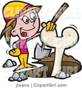 Vector Clip Art of an Archaeologist Girl Digging up a Bone - Royalty Free by Jtoons