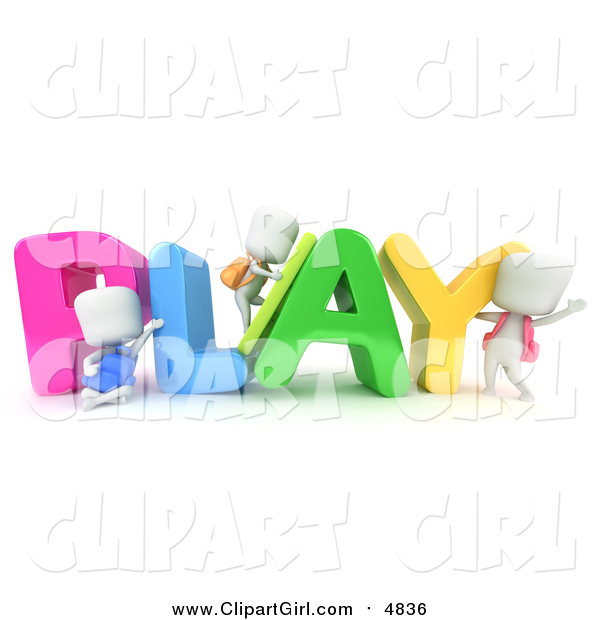 Clip Art of 3d Ivory Students with PLAY
