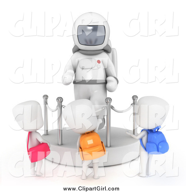 Clip Art of 3d School Kids Checking out an Astronaut Space Suit Display at a Museum