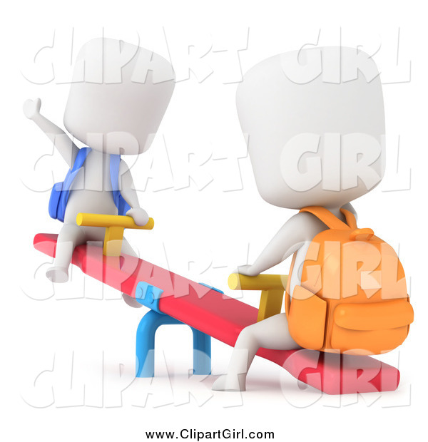 Clip Art of 3d School Kids Playing on a See Saw