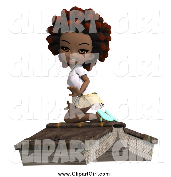 Clip Art of a 3d Black School Girl with an Afro, Kneeling on a Giant Book