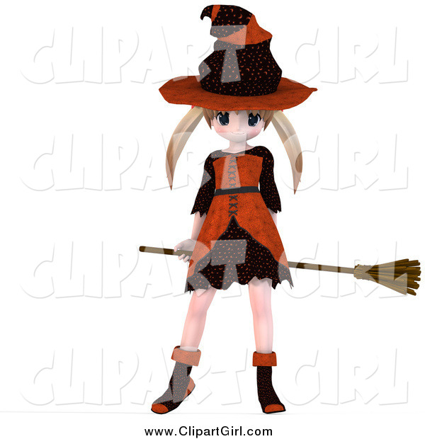 Clip Art of a 3d Blond Caucasian Witch Girl Flying on Her Broom