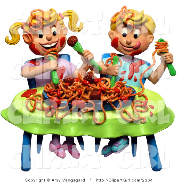 Clip Art of a 3d Boy and Girl Twins Making a Mess During a Spaghetti Dinner