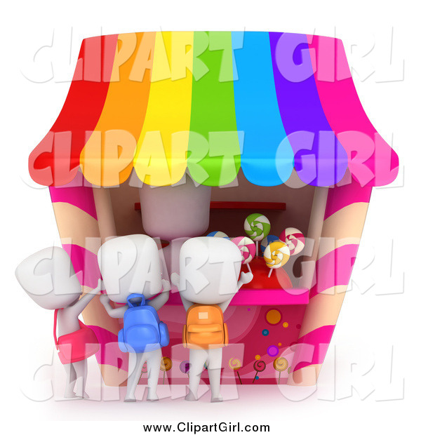 Clip Art of a 3d White School Kids Buying Candy at a Stand