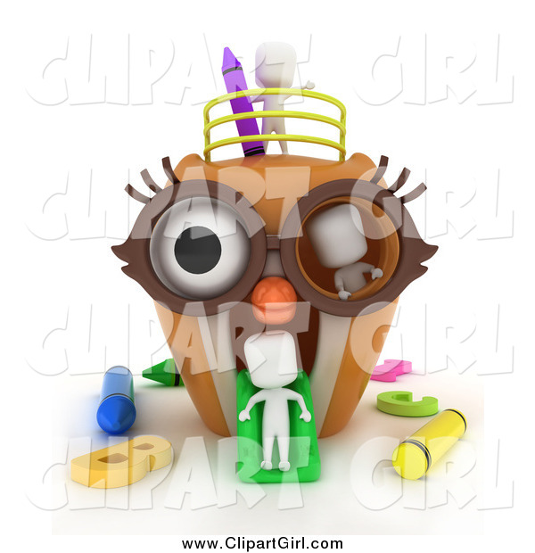 Clip Art of a 3d White Students in an Owl Playground