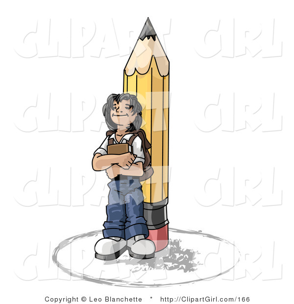 Clip Art of a Back to School Girl Elementary School Student Standing by a Giant No 2 Pencil, Wearing a Backpack and Holding a Book Clipart Illustration