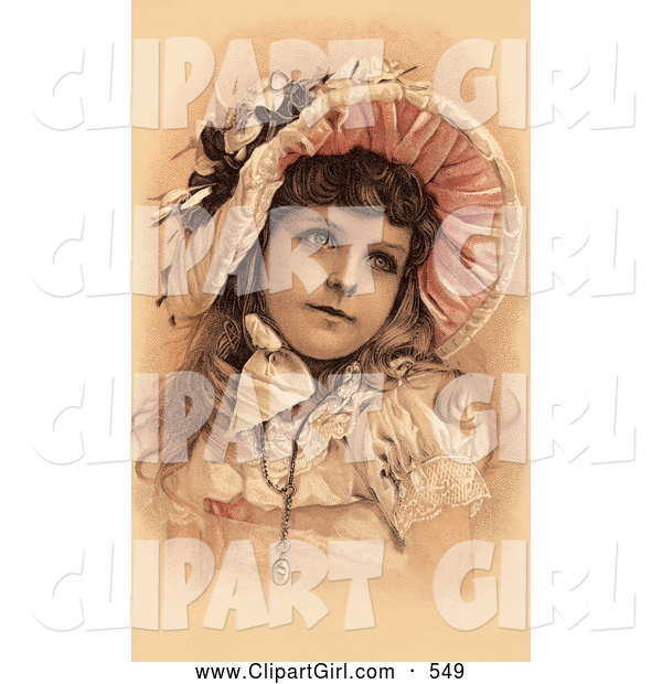 Clip Art of a Beautiful Little Victorian Girl Dressed in Her Easter Dress and Bonnet, Looking to the Right