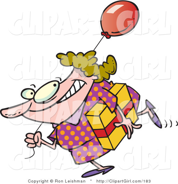 Clip Art of a Birthday Girl in a Polka Dot Dress, Carrying a Present and a Red Balloon