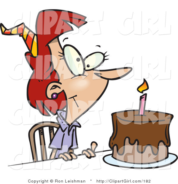 Clip Art of a Birthday Woman with Candle on a Chocolate Birthday Cake