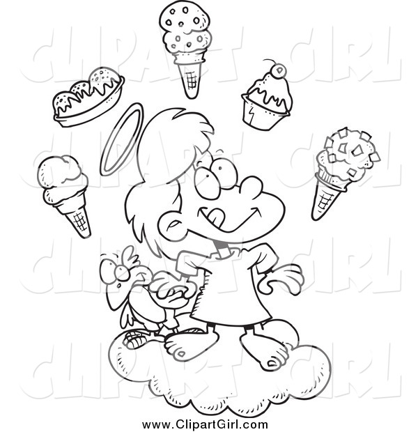 Clip Art of a Black and White Angel Girl in Heaven with Ice Cream
