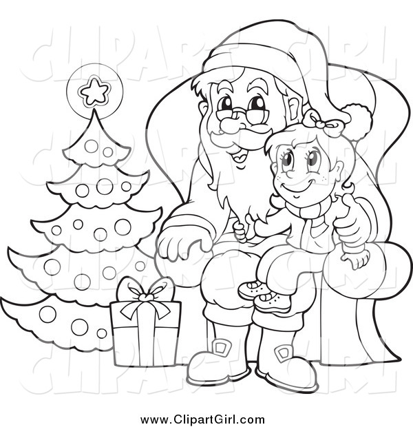 Clip Art of a Black and White Christmas Girl Sitting on Santas Lap