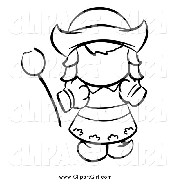 Clip Art of a Black and White Dutch Girl with a Tulip