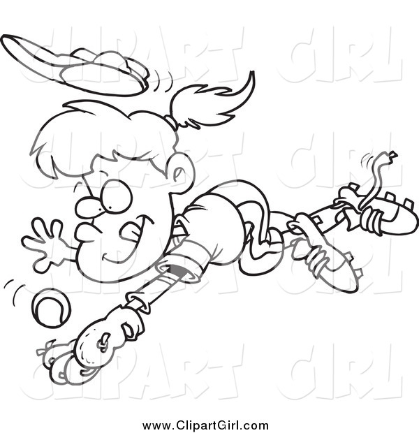 Clip Art of a Black and White Girl Diving to Catch a Baseball