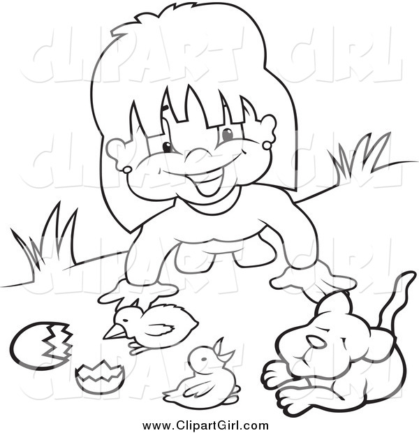 Clip Art of a Black and White Happy Girl Playing with Animals