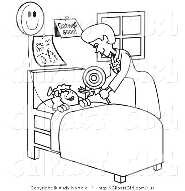 Clip Art of a Black and White Outline of a Friendly Registered Nurse Bending over a Sick Girl in a Hospital Bed, Handing Her a Balloon