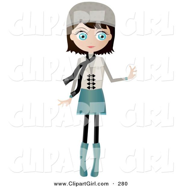 Clip Art of a Black Haired, Blue Eyed White Woman Dressed in Blue and Beige, Wearing a Hat and Scarf, Standing and Holding One Arm out