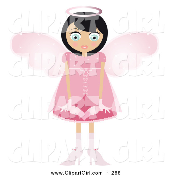 Clip Art of a Black Haired Caucasian Fairy Woman in a Pink Dress and Heels, with Big Pink Wings and a Halo, Holding a Winged Heart in Front of Her