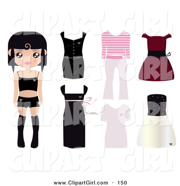 Clip Art of a Black Haired Caucasian Paper Doll Girl Wearing Undergarments, with Dresses, and Outfits to the Right
